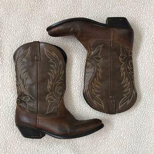 LAREDO Kadi Brown Distressed Leather Cowboy Boots